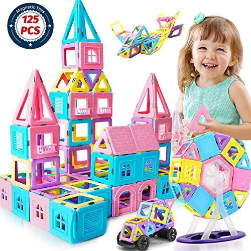 ACTRINIC 127pcs Schloss Magnetische Bausteine Kacheln -3D Regenbogen Magnetische Fliesen mit Spiel Magnet Figuren für Kinder -Geschenk Spielzeug für 3 4 5 6 7 8 Jahre Jungen Mädchen