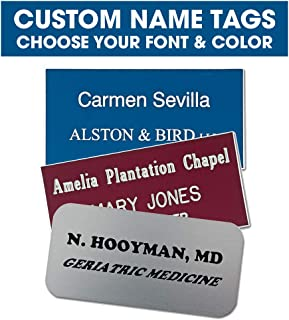 Custom Engraved Name Tags- Up to 3 Lines of Text - Choose Your Font and Color- Personalized Name Tags (Square Corners)