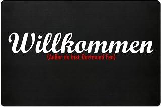 PlimPlom Fußmatte Anti Dortmund in schwarz - Lustige Fußball Schmutzfangmatte mit Statement für Dein Zuhause aus Polypropylen mit Rutschfester Unterseite