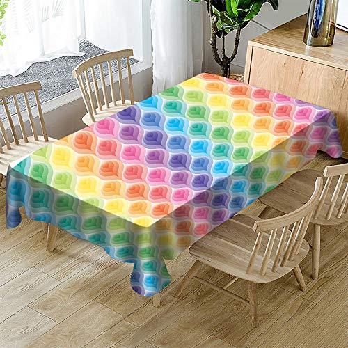 ASDEWQ Mantel Mesa Rectangular,Manteles Antimanchas Poliéster Impresión 3D De Colores,Mantel De Mesa Lavable,Manteles Mesa para Decoración De Comedor De Cocina Jardín(Mosaico De Colores,150X220Cm)