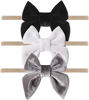 Baby Velvet Bow Headbands - 3 Pack Cotton Nylon Headband Baby Gift Photography Hair Bow