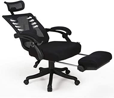 Hbada Reclining Office Desk Chair | Adjustable High Back Ergonomic Computer Mesh Recliner | Home Office Chairs with Footrest