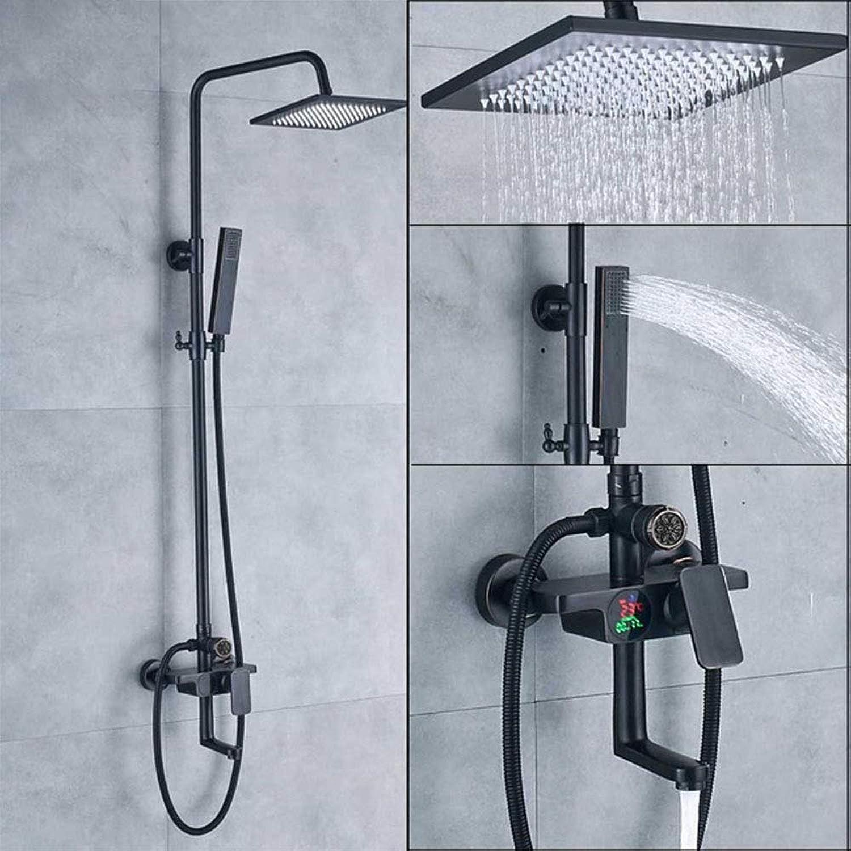 Duscharmaturen, Bad-Duschmischer-Kits Digitalanzeige Wandmontage Regen Wasserfall Duschkopf Duschhahn mit Handbrause,A