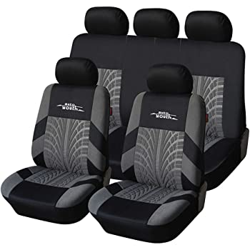 AUTOYOUTH Car Seat Covers Universal Fit Full Set Car Seat Protectors Tire Tracks Car Seat Accessories - 9PCS, Black/Gray