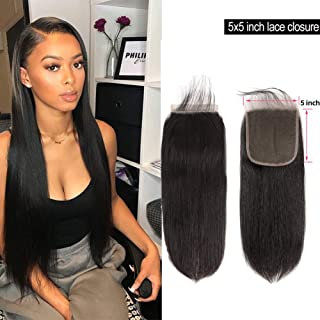 Brazilian Straight 5x5 Lace Closure With Baby Hair Free Part Pre Plucked Lace Closure Sew In Human Hair Extensions 100% Unprocessed Virgin Human Hair Closure 130 Density 1b(12 Inch)