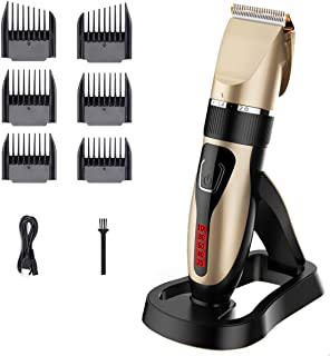 Cordless Hair Clippers, USB Rechargeable Hair Trimmer, IPX7 Waterproof Hair Cutting Kit with Battery Life Indicator LED Di...