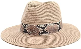 Summer Hat Women Panama Straw Hat Fedora Beach Vacation Wide Brim Visor Casual Summer Sun Hats for Women Sombrero` TuanTuan (Color : Pink, Size : 56-58CM)