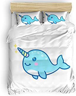 MIGAGA Luxury Duvet Cover Set Twill Plush Bed Sheet Sets,Cartoon Narwhal Cute Pattern Comfortable Bedding Sets for Girls Boys,Include 1 Duvet Cover 1 Bed Sheets 2 Pillow Case Queen Size
