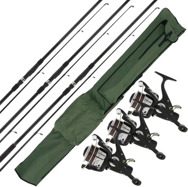 3 X NGT Max 12ft Stangen + 3 X MAX40 2BB Reels Pre-spooled 4,5 kg Line & Reisetasche