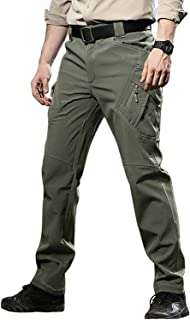 TACVASEN Men's Ski Water Repellent Softshell Fleece Lined Hiking Pants Tactical Trousers