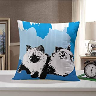 HouseLook Cat Hypoallergenic Plush Decor Pillows Illustration of Cute Baby Cats with Shades of Blue Kitten Theme Artwork Pillow Cover Cushion Case for Sofa 20 x 20 Inch Slate Blue Baby Blue Teal