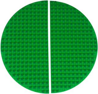 Premium 38cm x 19cm Double Sided Half Circle Silicone Baseplate Mat 2 Pack - Green Roll Up Base Plate with Large and Small Pegs - Compatible with All Major Large and Standard Size Brands