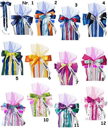alles-meine.de GmbH große 3-D Schleife für Schultüten -  rosa / pink - blau  - incl. Name / Text - 24 cm breit u. 55 cm lang - mit edlen Satin Bändern, Tüll & Perlenband - für ..