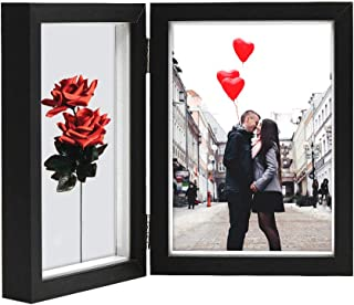 Afuly Double Picture Frame 5x7 Vertical Hinged Photo Frames Black Wooden Shadow Box 2 Opening for Desk Top Display