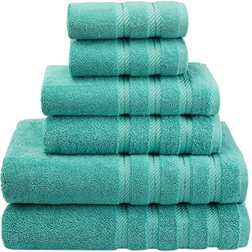American Soft Linen 6-Piece 100% Turkish Genuine Cotton Premium & Luxury Towel Set for Bathroom & Kitchen, 2 Bath Towels, 2 Hand Towels & 2 Washcloths [Worth $72.95] - Turquoise Blue