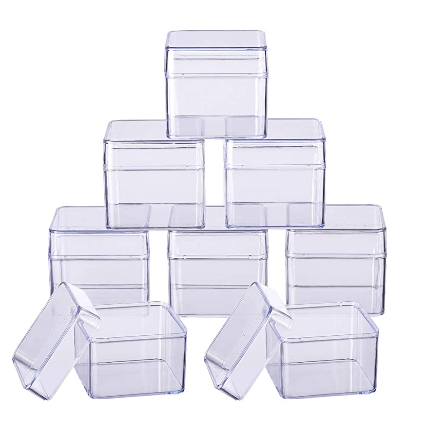 BENECREAT 10 Pack Large Square High Transparency Plastic Bead Storage Containers Box Drawer Organizers for Beauty Supplies,Tiny Bead,Jewerlry Findings, and Other Small Items - 2.2x2.2x2 Inches