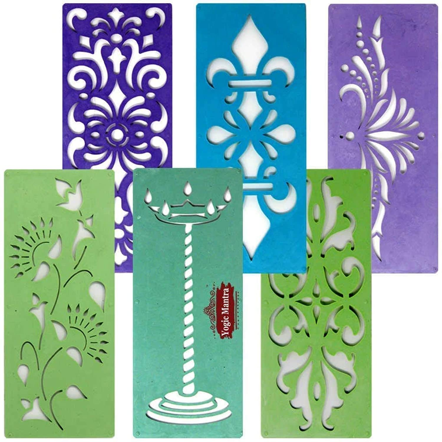 Assorted Classic Rangoli Stencil Borders Set (6 Designs 7
