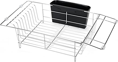 high quality Dish Drying Rack, 1Easylife Expandable Over The Sink Dish Drainer Dish discount Rack in Sink or On Counter with Utensil Silverware Storage Holder lowest for Kitchen Organizer Storage Space Saver Shelf outlet online sale