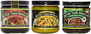 Better than Bouillon Premium Roasted Beef Base, Roasted Chicken Base, Seasoned Vegetable Base 8 ounce Jars (Variety 3 Pack)