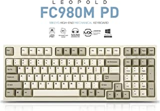 Leopold FC980M PD 99keys High-End Mechanical Keyboard PBT Double Shot Cherry MX Switch (White/Grey, Cherry MX Brown Switch)