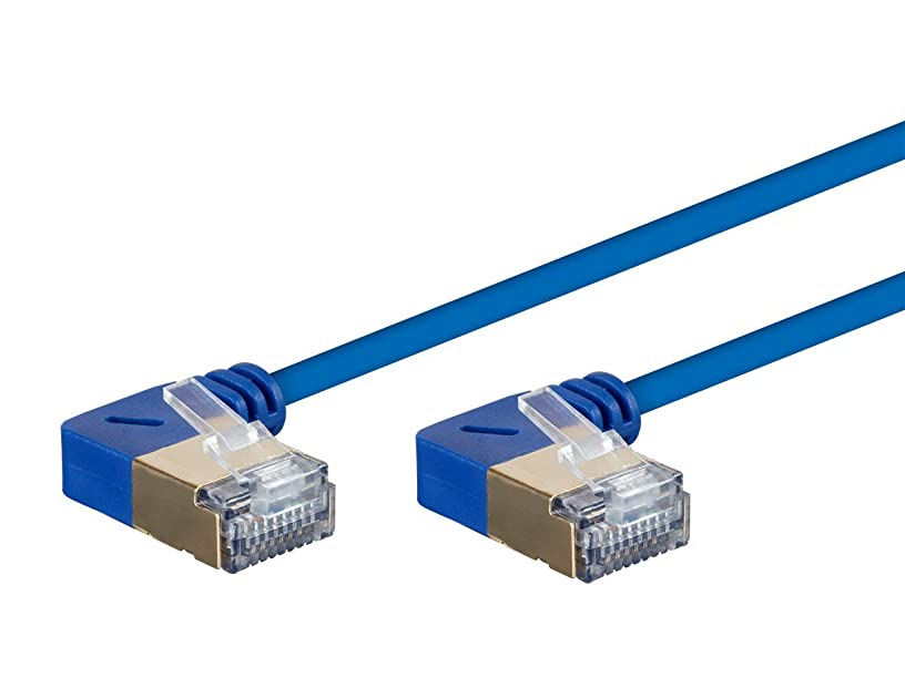 Monoprice SlimRun Cat6A Ethernet Network Cable/Cord - Blue - 50ft | 90 Degree Angled, 36AWG, S/STP