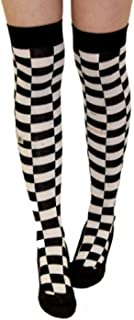 Ladies Mens Girls Boys Stripe Argyle Referee Check Lycra Cotton Plain Bow Ankle Over The Knee Socks