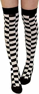 Ladies Mens Girls Boys Stripe Argyle Referee Check Lycra Cotton Plain Bow Ankle Over The Knee Socks