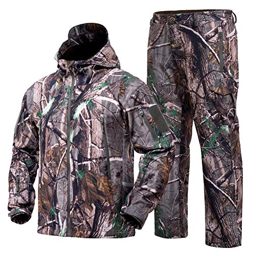 YEVHEV Hunting Gear Suit for Men Camouflage Hunting Hoodie Jacket and Pants Windproof Coat Camo
