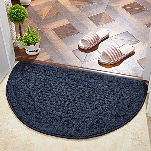 ZZXXKK Teppich Langlebig Halbrund Fußmatte Schmutzfangmatte, Pflegeleicht rutschfest Teppich Mehrfarbig-blau 50x80cm(20x31inch)