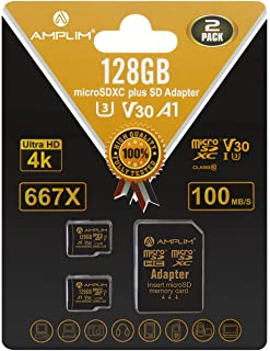 2-Pack 128GB Micro SD SDXC Card Plus Adapter Pack - Amplim 2X 128 GB MicroSD Card V30 A1 U3 C10 Extreme Speed 100MB/s UHS-...