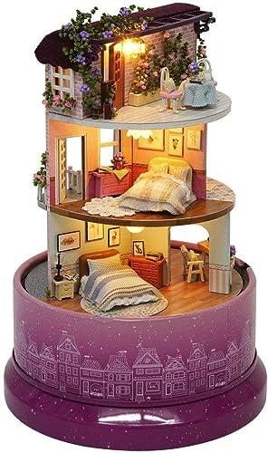 Mejor precio AUZXY DIY Music Music Music Box 3D Puzzles De Madera Hechos a Mano en Miniatura Dollhouse Kit w Light Music Acrílico Dome Dollhouse Accesorios Dollhouses con Muebles y Caja de música, B  calidad auténtica