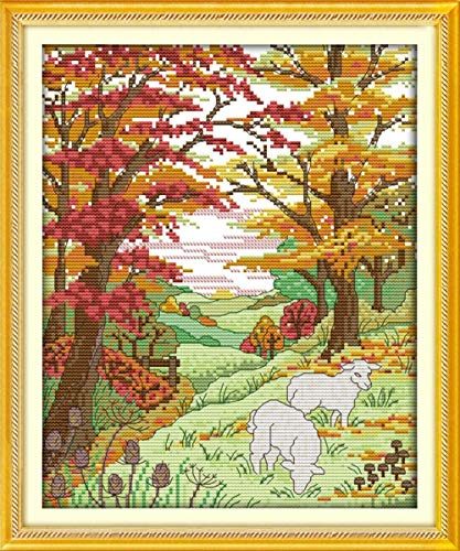 Kit de punto de cruz con tela estampada-Ovejas en las colinas de otoño-Kits de bordado para principiantes, niños y adultos con patrón impreso de 11 quilates -40x50cm