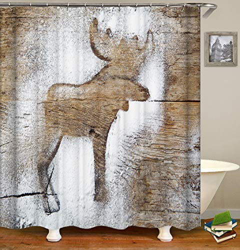 Moose Shower Curtains Fabric,Rustic Elk Moose Deer Simplicity Animal Cute Beige Polyester Cloth Print Bathroom Curtains, Wooden Board Countryside Farmhouse Style,Include Hooks Set 72〃w by 72〃L