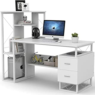 Tribesigns Computer Desk with Drawers, 57 Inches Functional Writing Desk with Corner Tower Shelves Works as Home Office Compact Workstation Desk for Small Space (White)
