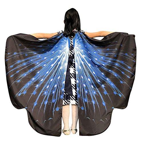 Vimoli Schmetterling kostüm Frauen Schmetterling Flügel Schals Poncho Kostüm Verkleidung Zubehör für Cosplay/Show/Daily/Party, Damen Schöner Chiffon Schmetterlingsflügel Schal(B Blau,136 * 108CM)