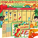 Potty Training Chart for Toddlers Dinosaur Design - Sticker Chart - 4Week Reward Chart, 194 Cool Stickers, Certificate, Instruction Booklet & Motivational Cards - Bonus Celebratory Hat