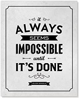 Mandela Quote Inspirational Art It Always Seems Impossible Until Its Done - Grey and Black Poster - 8x10