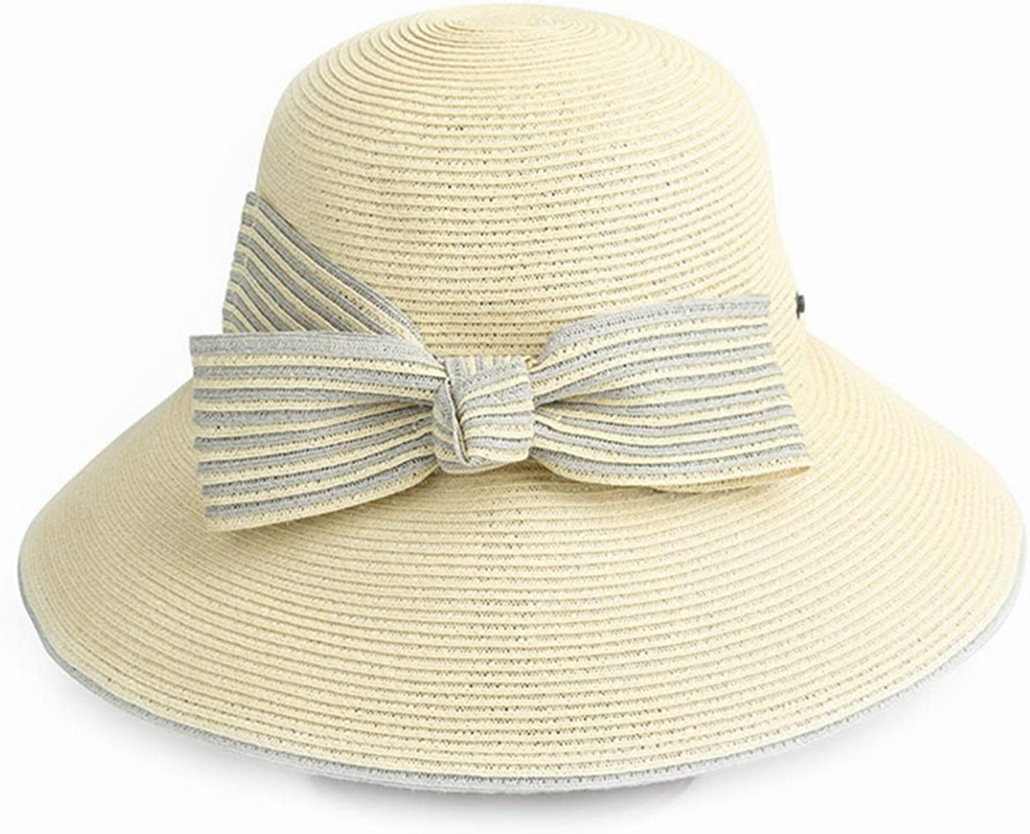 Ladies Straw Hat Spring Summer Large Size Foldable Straw Hat Straw Hat Beach UV Cut Lightweight Type Casual Outdoor Travel (color   Beige)