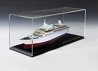 Displays2go AF292X11BK Acrylic Display Case 11 x 29 Inches with Ring, Black Base and Lift Off Top for Countertop Use