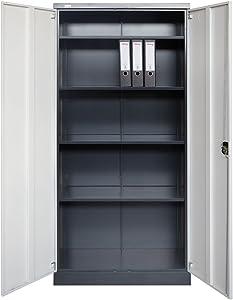 Jet-Line Armario oficina mueble archivador metal Moskau gris oscuro-blanco