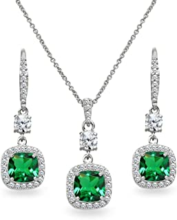 Sterling Silver Genuine or Synthetic Gemstone Cushion-Cut Halo Dangle Leverback Earrings & Pendant Necklace Set