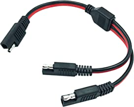 AYECEHI SAE Connector SAE DC Power Automotive Adapter Cable Y Splitter 1 to 2 SAE Extension Cable 14AWG 12inch/30cm