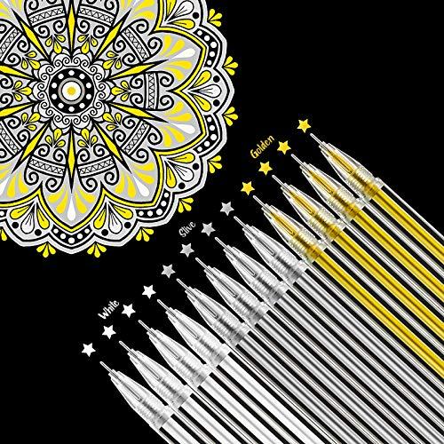 18 Bolígrafos de Tinta Gel Blanca Dorada Plateada Subrayadores Materiales de Diseño Arte Dibujo 0,5 mm Bolígrafos para Papel Negro Dibujo Bocetos Ilustración Diario Invitaciones de Boda y Libro