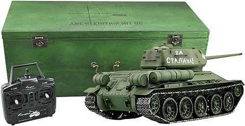 ¡no ser extrañado! Amewi Tanque RC T de de de 34 85R & S 2.4GHz Caja de Madera Cadenas de Metal Engranaje de Metal QC M1  16  Sin impuestos