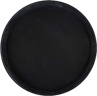 Winco Round Fiberglass Tray with Non-Slip Surface, 16-Inch, Black