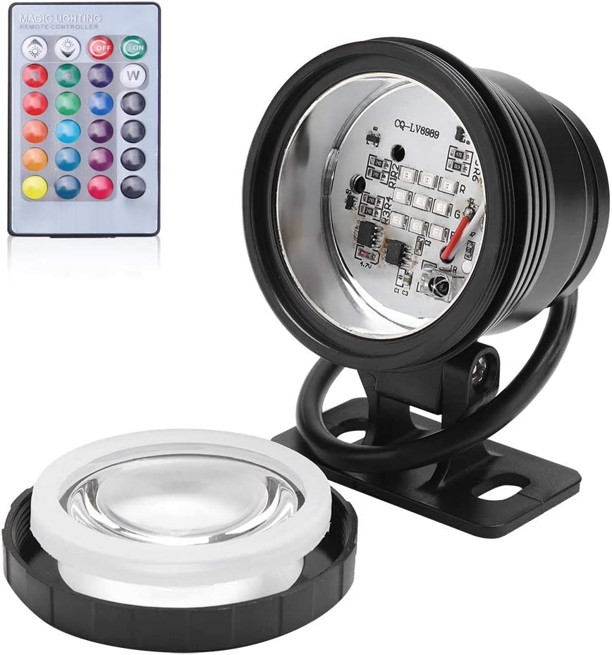 Gojiny Pond Light Waterproof Underwater Light RGB LED Multi-Color Spotlight with Remote for Outdoor Garden Fish Tank Fountain AC//DC 12V Black