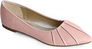 Trary Women's Pleated Pointed Toe Slip on Ballet Flat Shoes