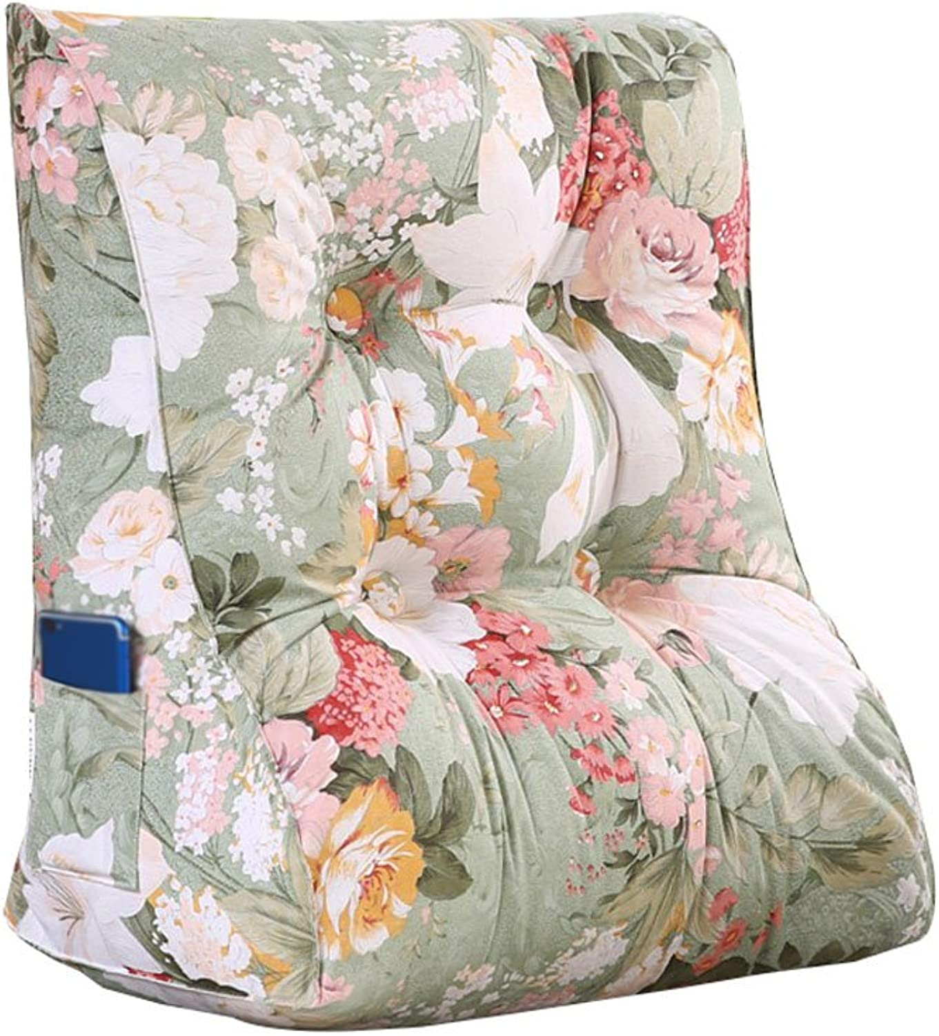 DDSS Bed cushion Triangle Bed Backrest Sofa Cushion Soft Cushions On The Bed Office Lumbar Pillow Neck Guard Predection Waist Washable Flower Pattern  -  (Size   45cm30cm55cm)