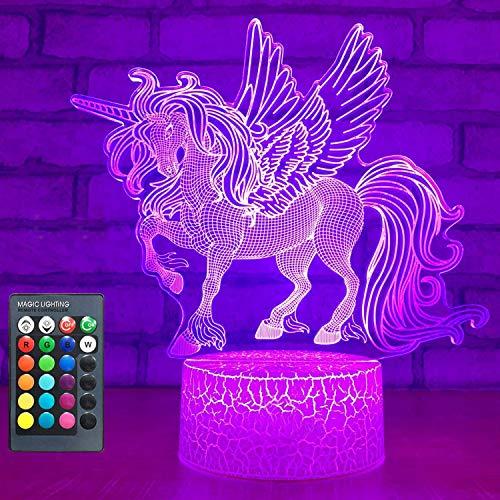 Einhorn Geschenke, Einhorn Nachtlicht für Mädchen,16 Farbe nachttischlampe Fernbedienung LED illusion Lampe Einhorn Toys für 3 4 5 6 7 8 9 Jahre alte Mädchen Geburtstagsgeschenk (Einhorn-06a)