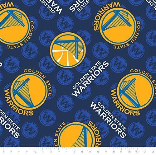Fleece (not for masks) NBA Golden State Warriors Basketball Sports Team Fleece Fabric Print by The Yard